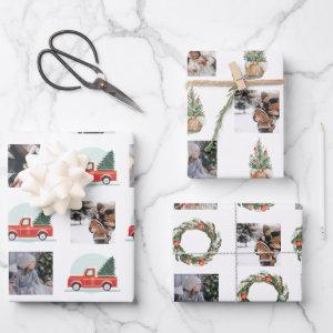 Photo Collage with Christmas watercolor elements Wrapping Paper Sheets