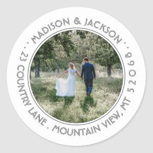 Photo Wedding Modern White Return Address Labels