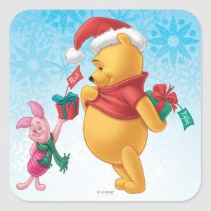 Piglet Gifting Pooh Square Sticker