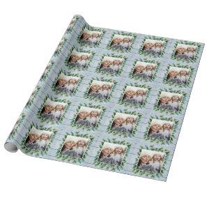 Pine Branch Blue Rustic Christmas PHOTO Holiday Wrapping Paper