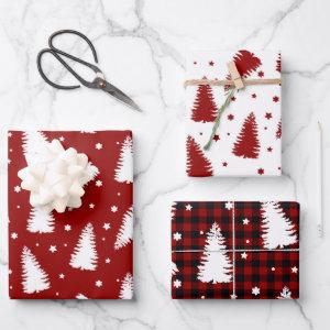 pine forest red buffalo plaid holiday wrapping paper sheets