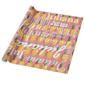 pineapple . pattern of names personalized wrapping paper