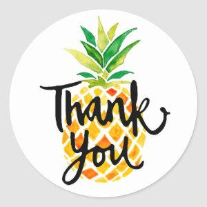pineapple thank you calligraphy classic round sticker