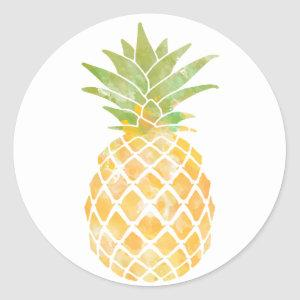 Pineapple Watercolor Yellow and Green Stencil Classic Round Sticker