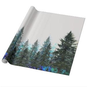 PINES FOREST MOUNTAIN LANDSCAPE WRAPPING PAPER