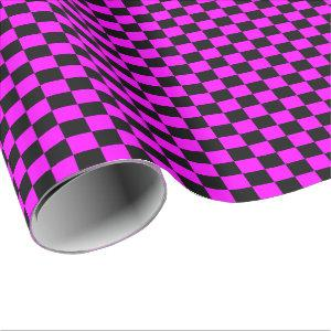Pink and Black Checkered Wrapping Paper