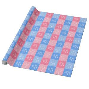 Pink and Blue Footprints Baby Gender Reveal Party Wrapping Paper