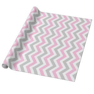 Pink and gray chevron wrapping paper