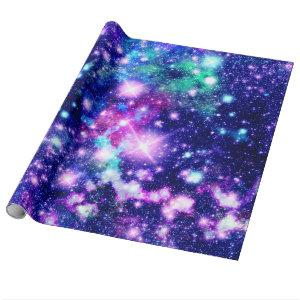 Pink and Purple Galaxy Stars Wrapping Paper