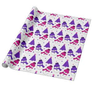 Pink and Purple Snowman Christmas Tree Gift Wrap