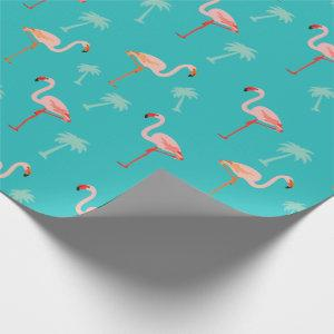 Pink and Teal Flamingo Pattern wrapping paper