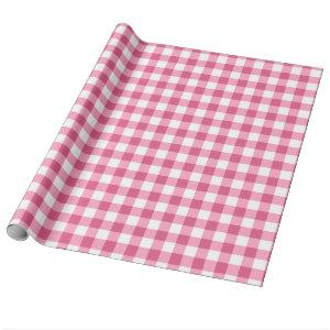Pink And White Gingham Check Pattern Wrapping Paper