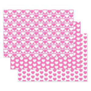 Pink and White Hearts Wrapping Paper Sheets