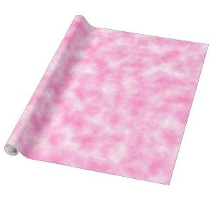 Pink and White Pastel Tie-Dye Marbleized Clouds Wrapping Paper