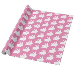 Pink and white rabbit easter gift wrapping paper