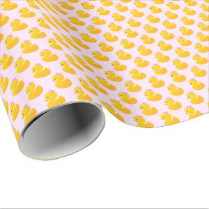Pink and Yellow Rubber Duck Wrapping Paper