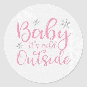 Pink Baby It's Cold Outside Stickers