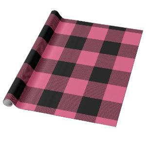 Pink & Black Checkered Squares Buffalo Plaid Wrapping Paper