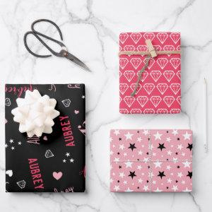 Pink Black Diamonds Hearts Stars Add Name Wrapping Paper Sheets