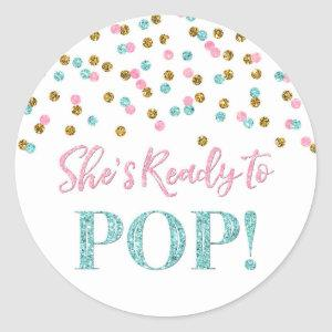 Pink Blue Gold Confetti She's Ready to Pop Classic Round Sticker