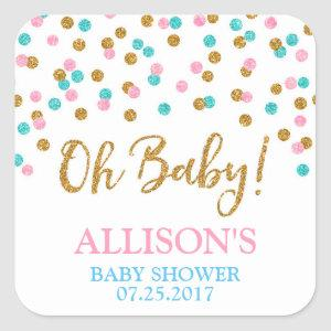 Pink Blue Gold Dots Baby Shower Favor Tags