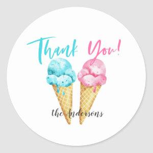 Pink Blue Ice Cream Gender Reveal Party Classic Round Sticker
