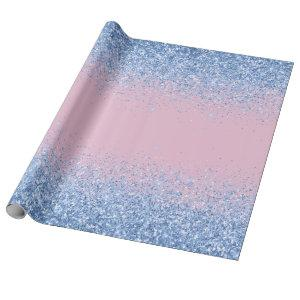 Pink Blue Ombre Glitter Baby Gender Reveal Wrapping Paper