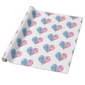 Pink Blue Ombre Glitter Hearts Baby Gender Reveal Wrapping Paper