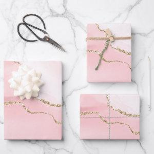 Pink Blush Agate with Gold Ribbon Elegant Wrapping Paper Sheets