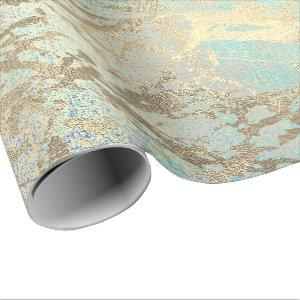 Pink Blush Painting Aqua Blue Gold Marble Shiny Wrapping Paper
