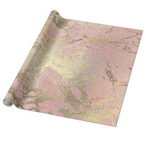 Pink Blush Painting Foxier Gold Marble Shiny Glam Wrapping Paper