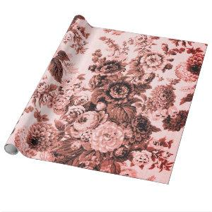 Pink Brown Tone Vintage Floral Toile Wrapping Paper