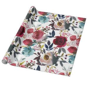 Pink Burgundy Wine Watercolor Floral Flowers Wrapping Paper