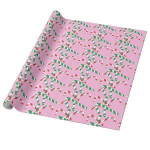 Pink Candy Cane white red green Wrapping Paper