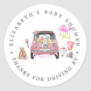 Pink Car | Drive-By Baby Shower Thank You Favor Classic Round Sticker