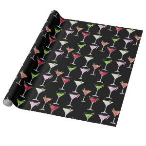 Pink Christmas Cocktail/Black Wrapping Paper