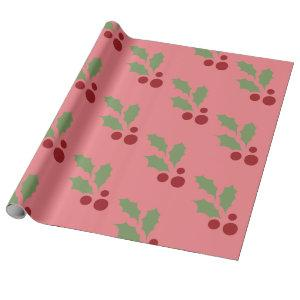 Pink Christmas Holly Wrapping Paper