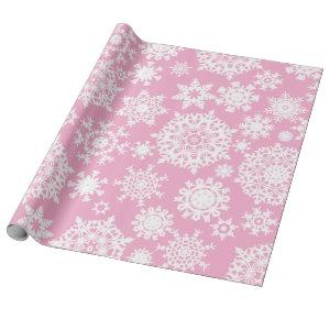 Pink Christmas Snowflake Pattern wrapping paper