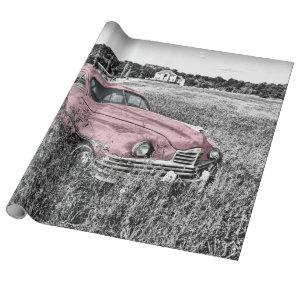 Pink Classic Car Wrapping Paper