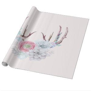 Pink Deer Antlers Flowers Succulent Garden Wrapping Paper