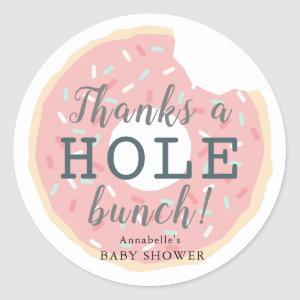 Pink Donut Baby Shower Thank You Sticker