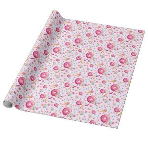 Pink Donut Collage Wrapping Paper