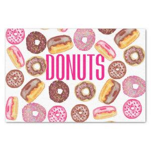 Pink Donut Typography and Watercolor Cute Donuts Tissue Paper
