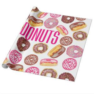 Pink Donut Typography and Watercolor Cute Donuts Wrapping Paper