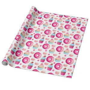 Pink Donuts Cupcakes Candy Birthday Wrapping Paper