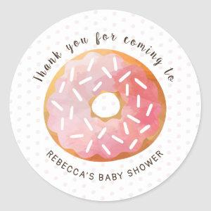 Pink Donuts Sprinkle Baby Shower Thank You Favor Classic Round Sticker