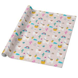 Pink Fiesta Llama Wrapping Paper