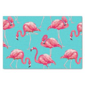 Pink flamingo birds on turquoise background tissue paper