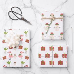 Pink Flamingo Christmas Snowman Pink White Red Wrapping Paper Sheets