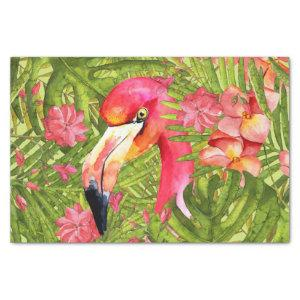 Pink Flamingo in Palm and Monstera Jungle Tissue Paper